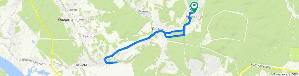 От Нагорная улица, 9, Краснокамск до Нагорная улица, 13, Краснокамск
