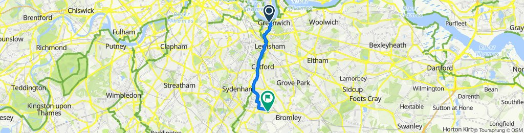 Greenwich Foot Tunnel, London to 3 The Mead, Beckenham