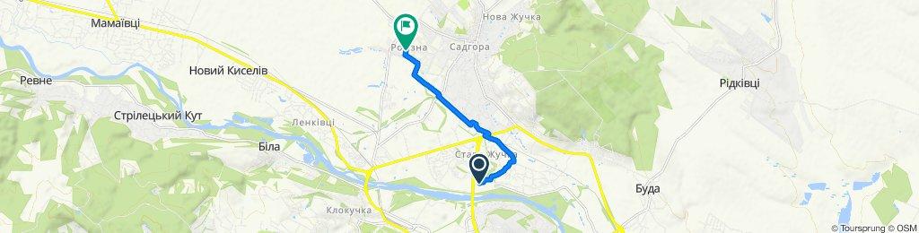 Калинівська вулиця, Chernivtsi Oblast to Кузнецова вулиця, Chernivtsi Oblast