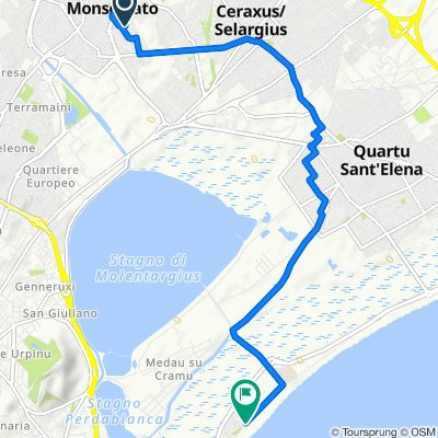 Via Terralba 25, Monserrato to Poetto (ang. via San Pietro), Cagliari
