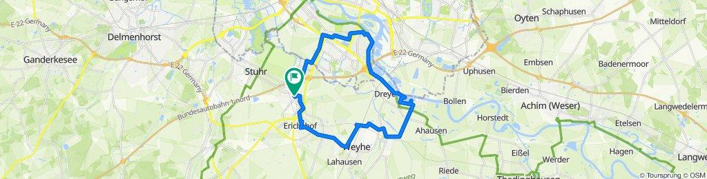 Rundtour von Stuhr-Brinkum über HB-Habenhausen, Wieltsee, Weyhe-Sudweyhe, -Kirchweyhe, -Leeste, -Erichshof zurück