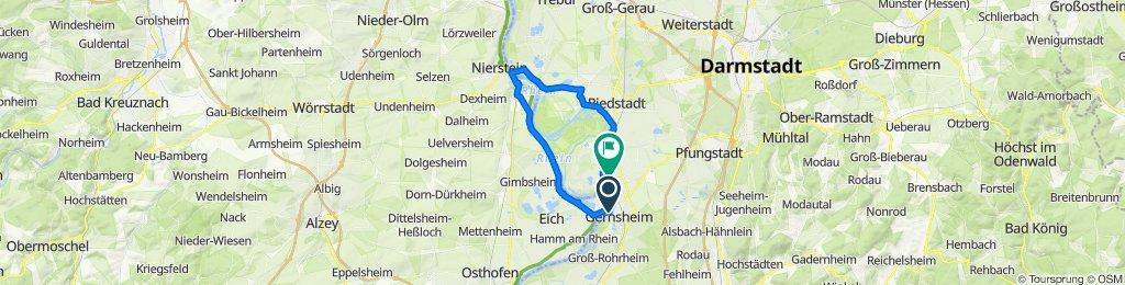 Restful route in Biebesheim am Rhein