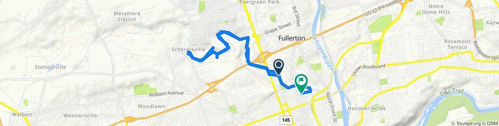 1169 N Sixth Street Ext, Allentown to 801–899 N Jute St, Allentown