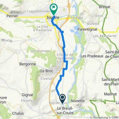 De 57 Route d'Issoire, Le Breuil-sur-Couze à 52 Boulevard Jules Cibrand, Issoire