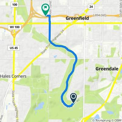Restful route in Greenfield