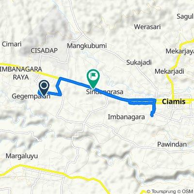 Jalan Angganaya No.57-75, Kecamatan Ciamis to Jalan Jendral Sudirman 271, Kecamatan Ciamis