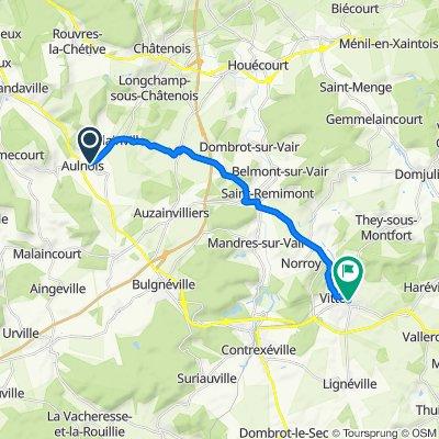 De 29 Route de Châtenois, Aulnois à 2–50 Rue du Petit Ban, Vittel