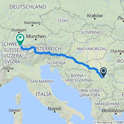 Route nach Blumenbergplatz, St. Gallen