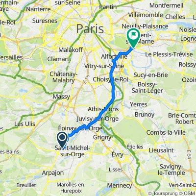 De Chemin de la Motte 11, Montlhéry à Allée Raymond Nègre 5, Joinville-le-Pont