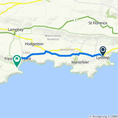 Route from A4139, Tenby