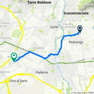 Da Viale Fratelli Kennedy 5–11, Pedrengo a Via Vittorio Gasparini 21, Bergamo