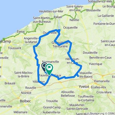 De Route de Roncherolles, Fauville-en-Caux à 844 Rue Charles de Gaulle, Fauville-en-Caux