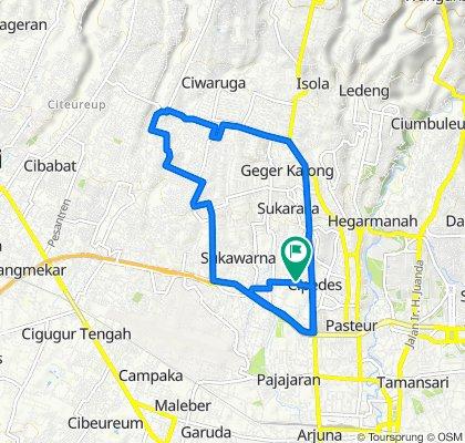 Jalan Sukagalih II 1, Kecamatan Sukajadi to Jalan Sukagalih II 1, Kecamatan Sukajadi