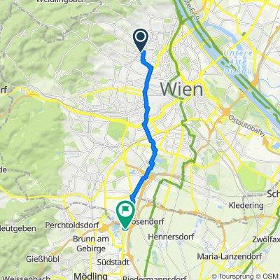 От Sternwartestraße 74, Wien до Autoallee 1-3, Vösendorf