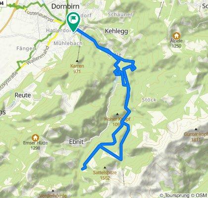 Über Ammannsbruck zur Sattelalpe und über Wäldle Alp und Staufensee zurück.
