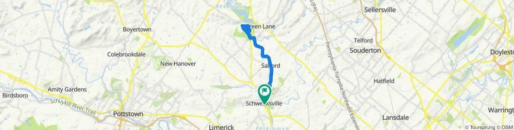 Relaxed route in Schwenksville