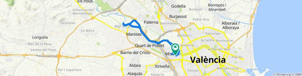 De Carrer de Gómez Ferrer 1, València a Carrer de Gómez Ferrer 4, València