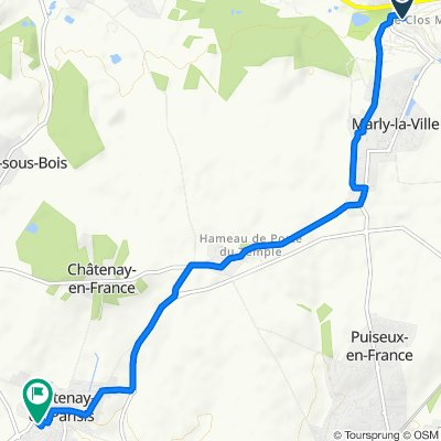 De Allée des Cornouillers 9, Marly-la-ville à Allée de la Bergerie 8, Fontenay-en-Parisis