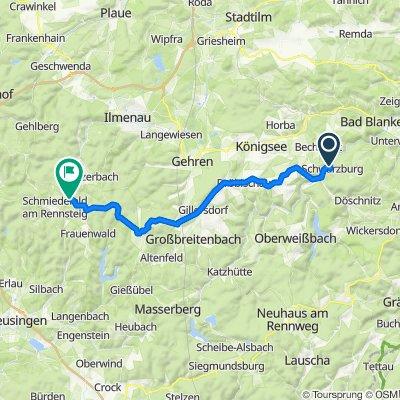Am Schloßberg 16, Schwarzburg nach Rennsteig 3, Schmiedefeld am Rennsteig