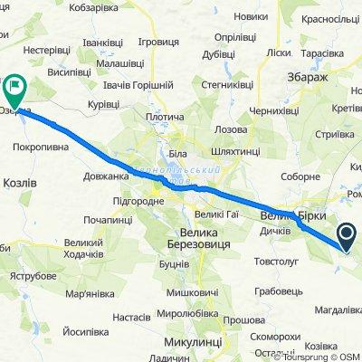 От вулиця Січових Стрільців 1, Малий Ходачків до Н02, Озерна