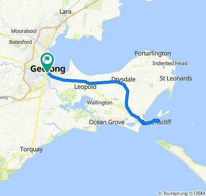 S. Geelong Train St to Queenscliff return