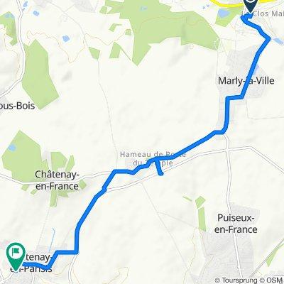 De Allée des Cornouillers 10, Marly-la-ville à Allée de la Bergerie 12, Fontenay-en-Parisis