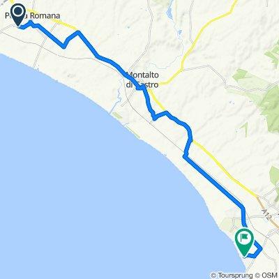 Strada Provinciale del Chiarone 1–9, Montalto di Castro naar Viale dei Navigatori 63a–67a, Lido di Tarquinia