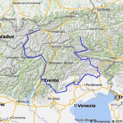 Reise durch Norditalien und Tirol