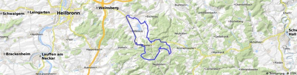 Obersulm - Eichelberg - Lichtenstern - Wüstenrot - Stocksberg - Löwenstein - Obersulm