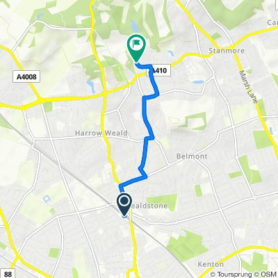 Route to 30 Binyon Crescent, Stanmore