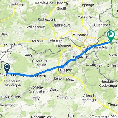 6 Route Nationale, Tellancourt naar Place du Marché 14, Pétange