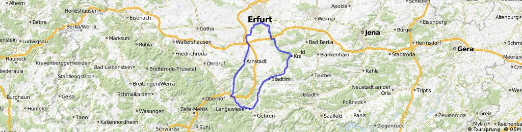 Erfurt  - Ilmenau über Kranichfeld und Stadtilm und zurück durch Arnstadt