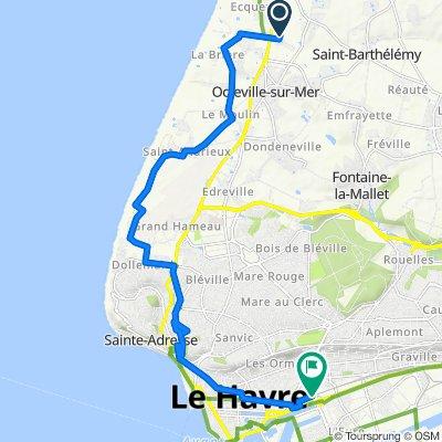 De 23 Impasse de la Ferme Fougard, Octeville-sur-Mer à 10 Gare, Le Havre