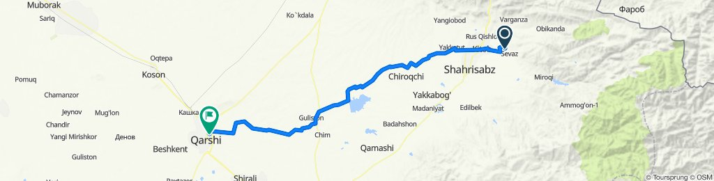 От Unnamed Road, Sarıasiya до улица Алишера Навои, Qarshi