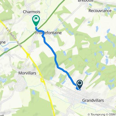 De 1 Rue des Champs de la Fosse, Grandvillars à 16 Rue de Froidefontaine, Charmois
