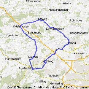 Rundkurs Odelzhausen - Fürstenfeldbruck - Dachau - Odelzhausen