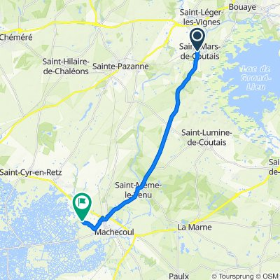 De Place de l'Église 8, Saint-Mars-de-Coutais à Les Hautes Rivières 10, Machecoul