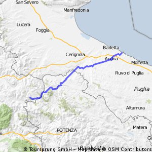Calitri Italy Map.Cycling Routes And Bike Maps In And Around Trani Bikemap Your