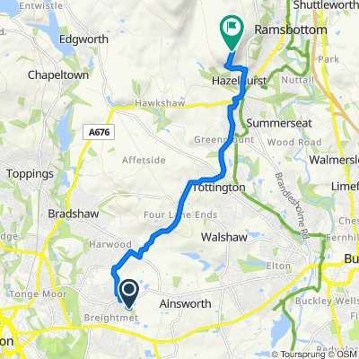 Route from 114 Tetbury Drive, Bolton