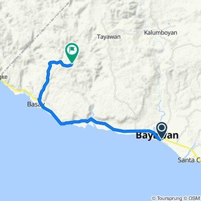 National Road, Bayawan City to Unnamed Road, Basay