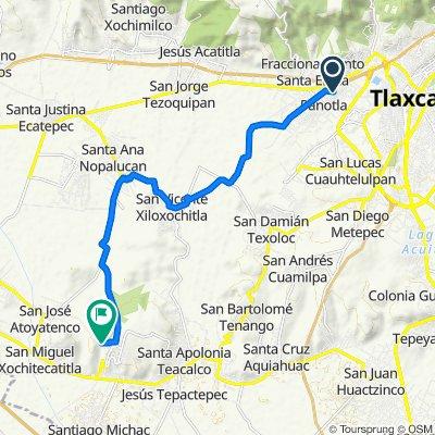 De Avenida Zahuapan 136, Panotla a Calle Circuito Perimetral Poniente, San Miguel del Milagro