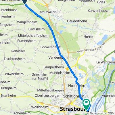 De 1–5 Quai du Canal, Waltenheim-sur-Zorn à Boulevard d'Anvers, Strasbourg