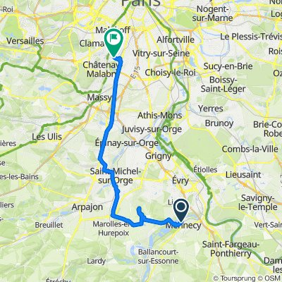 De D153, Mennecy à 42–52 Rue des Aulnes, Sceaux