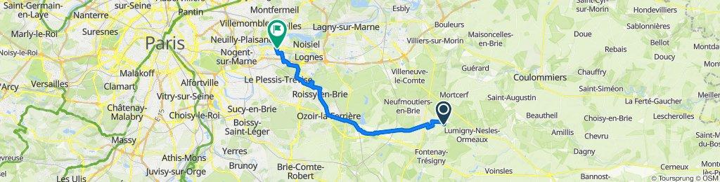 De Rue de Beauregard, Crèvecoeur-en-Brie à 164 Avenue Émile Cossonneau, Noisy-le-Grand