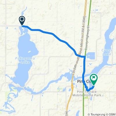 10991 Lakeview Heights Rd, Pine City to 12500–12778 Cross Lake Rd SE, Pine City