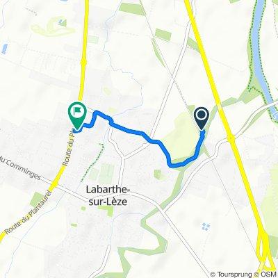 De Chemin de la Riverotte 1095, Labarthe-sur-Lèze à Route du Plantaurel 1701, Labarthe-sur-Lèze