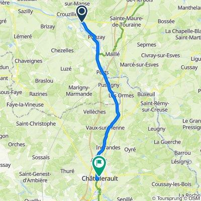 De D109, Trogues à 4–24 Rue Poulain, Châtellerault