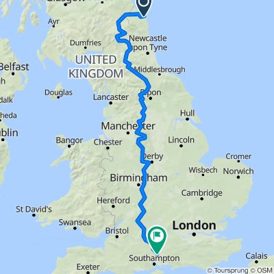 Three Kingdoms route Bamburgh Castle to Winchester