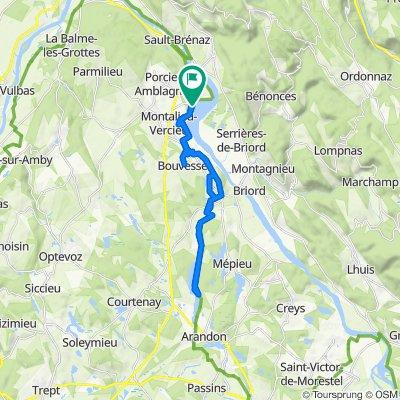 De Unnamed Road, Montalieu-Vercieu à Rue du Rhône 75, Montalieu-Vercieu