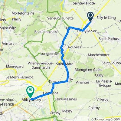 De Route de Paris 44, Le Plessis-Belleville à Rue Maurice Thorez 7, Mitry-Mory